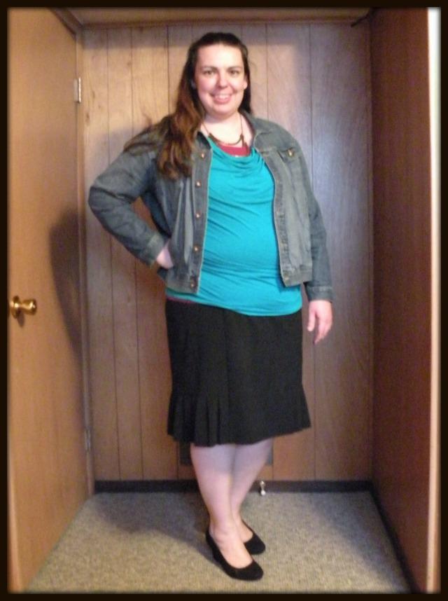 Denim and Black Pencil Skirt