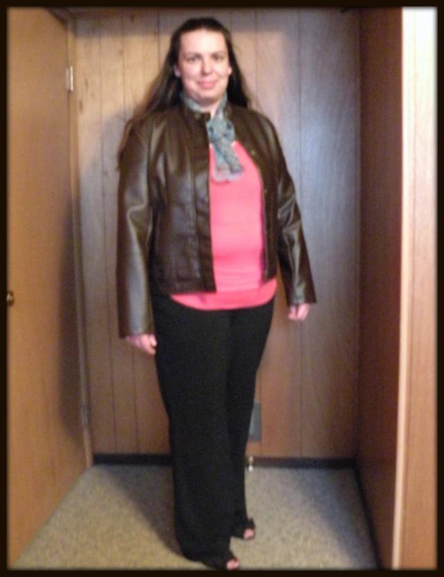 Leather Jacket and Slacks