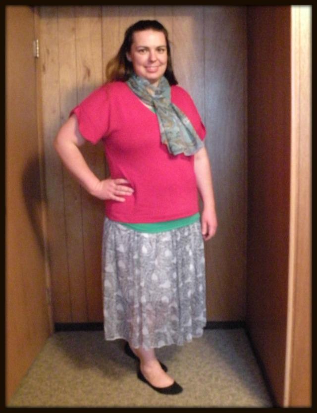Pink with Print Skirt