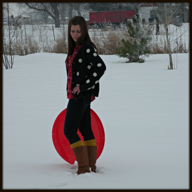 Polka Dots, Red Plaid and Boots