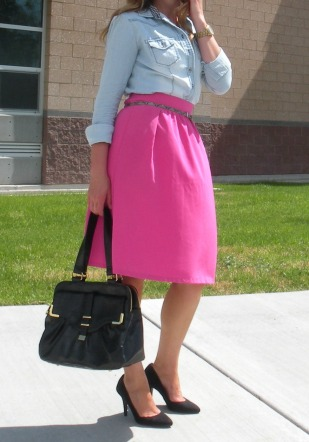 Chambray and Midi Skirt