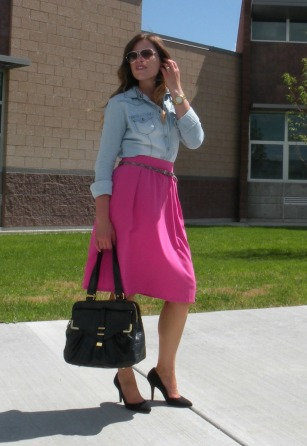 Chambray and pink midi skirt