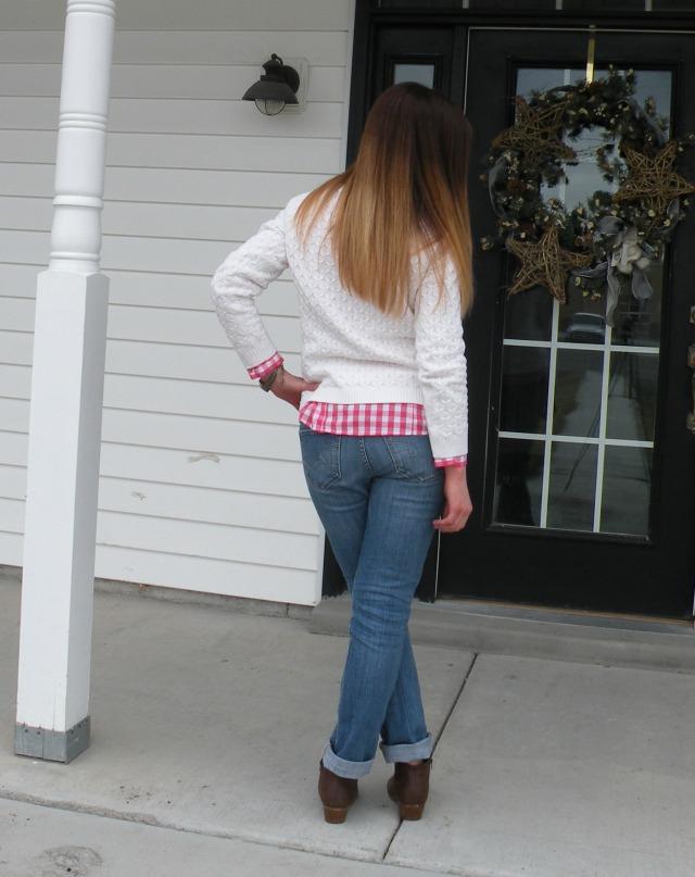 ginham and white sweater 2